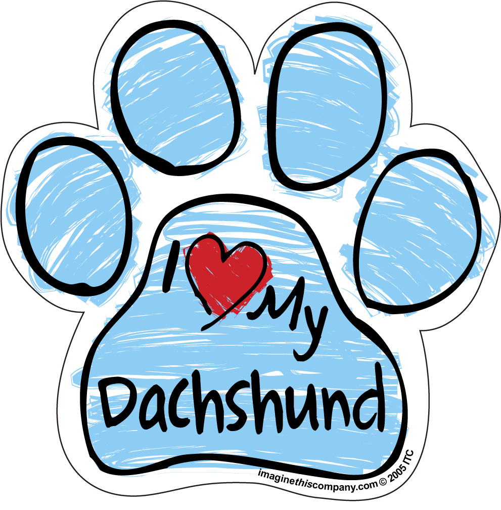 Hot Dog I Love My Dachshund BLUE Scribble Paw Magnet
