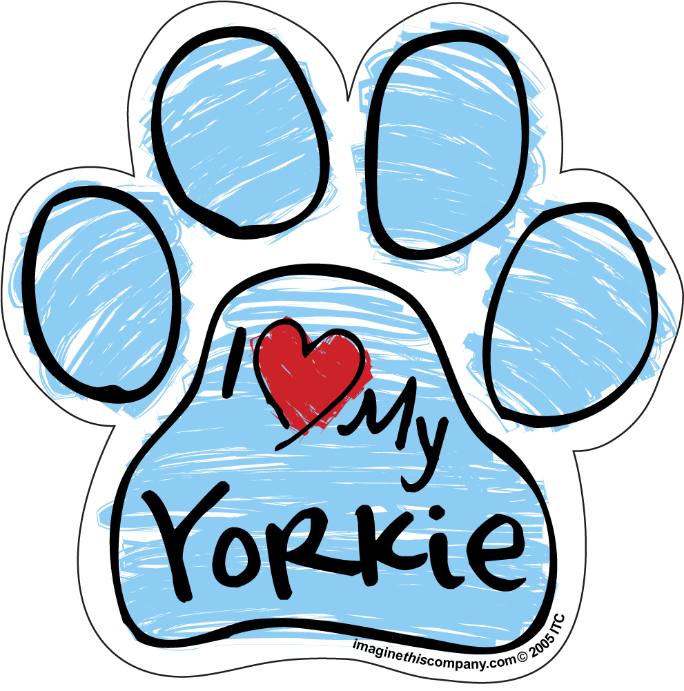 Hot Dog I Love My Yorkie BLUE Scribble Paw Magnet