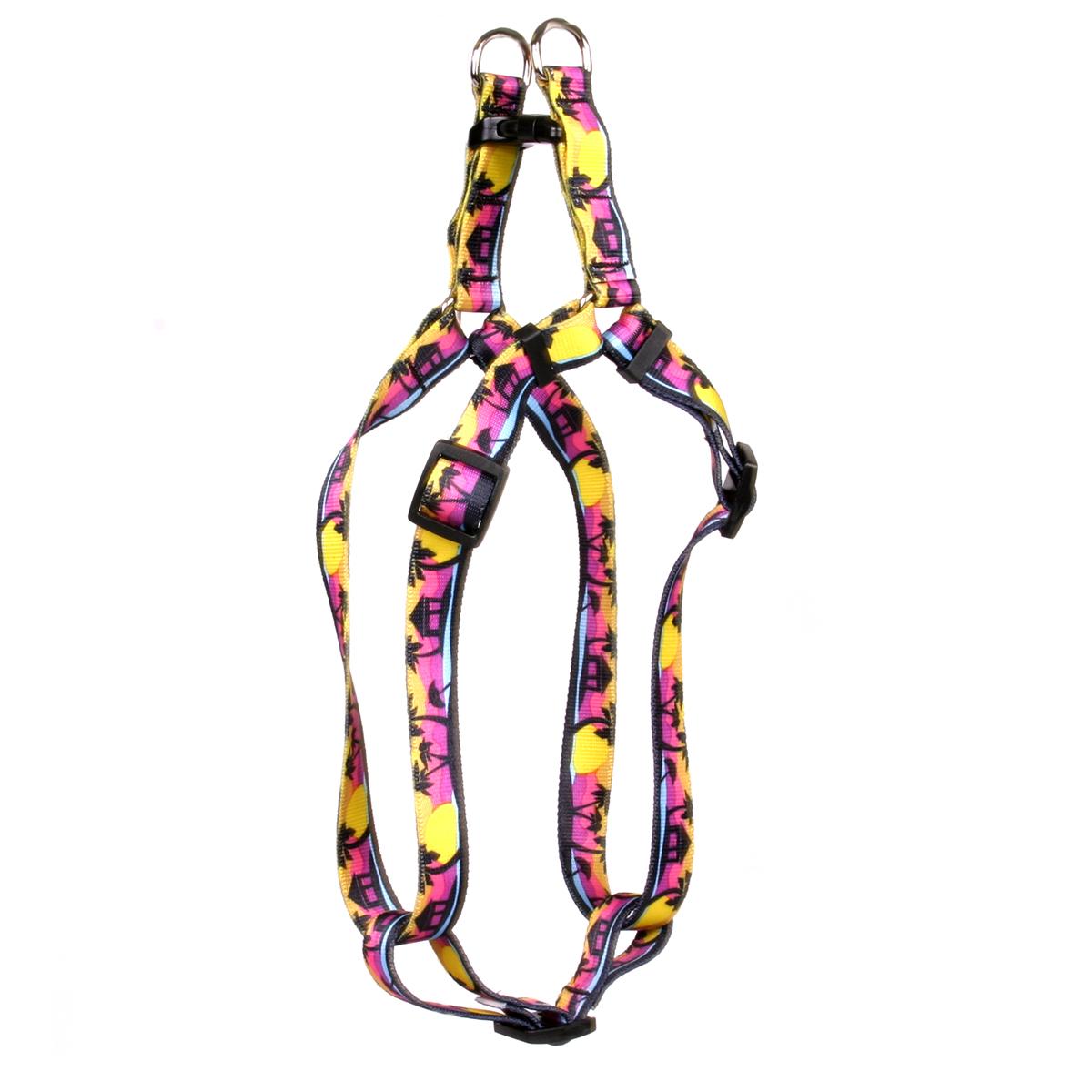 Yellow Dog Palm Tree Island Step-In Dog Harness