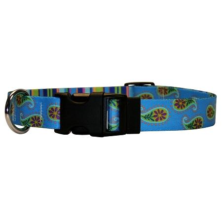 Yellow Dog Blue Paisley Dog Collar