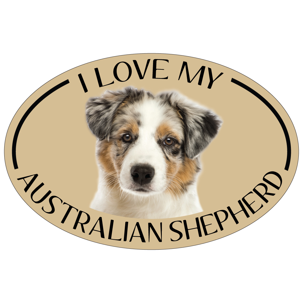 Hot Dog I Love My Aussie Colorful Oval Magnet