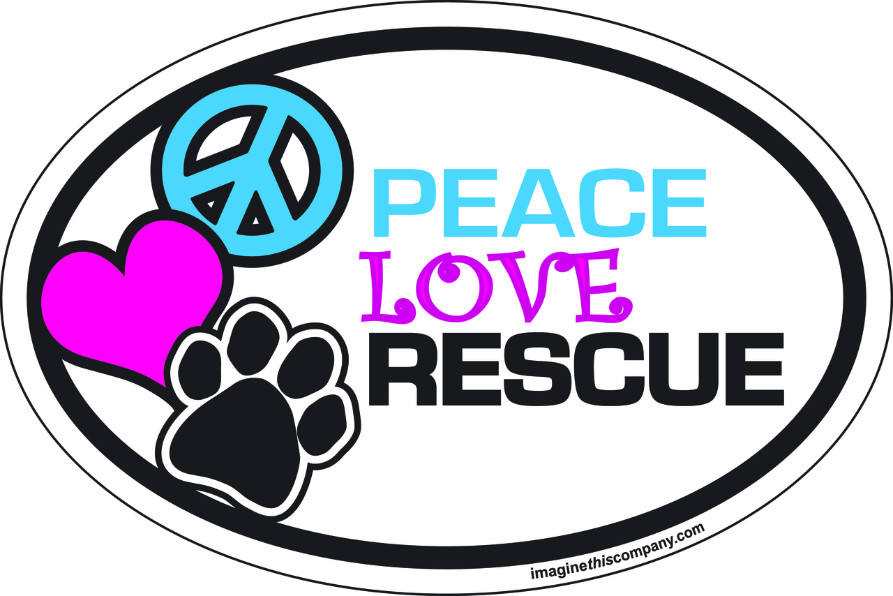Peace Love Rescue Oval Magnet 6863