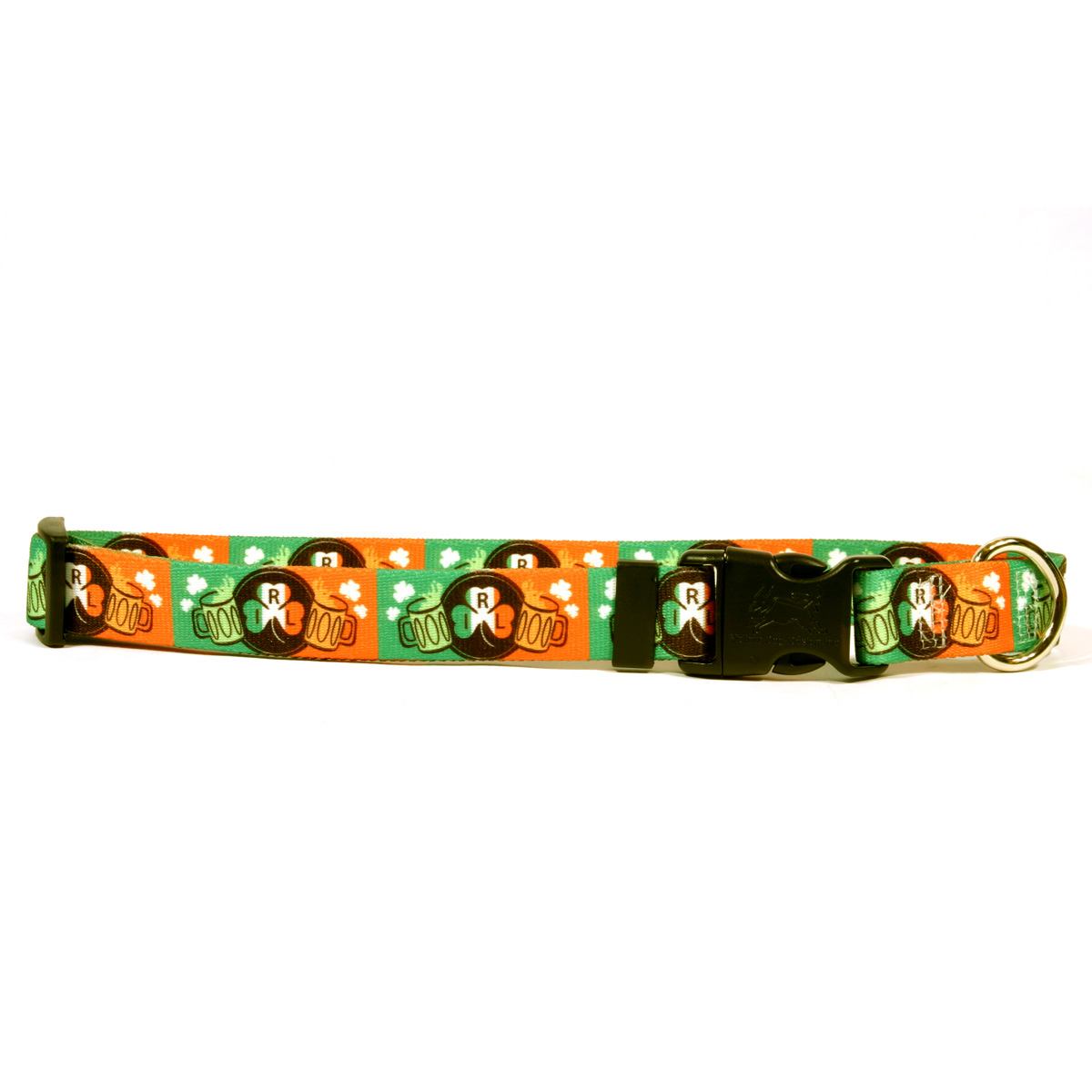 Yellow Dog Glass is Half Full Irish Dog Collar with Tag-A...