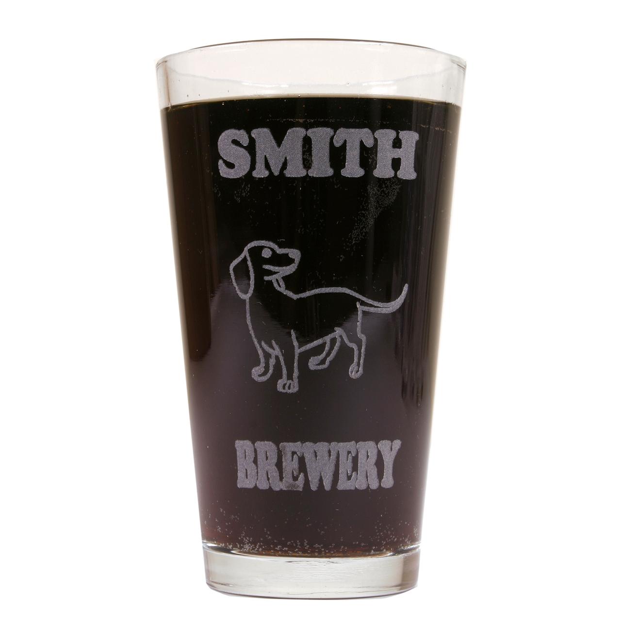 Hot Dog Personalized Pint Glass Beer Mug - Dachshund