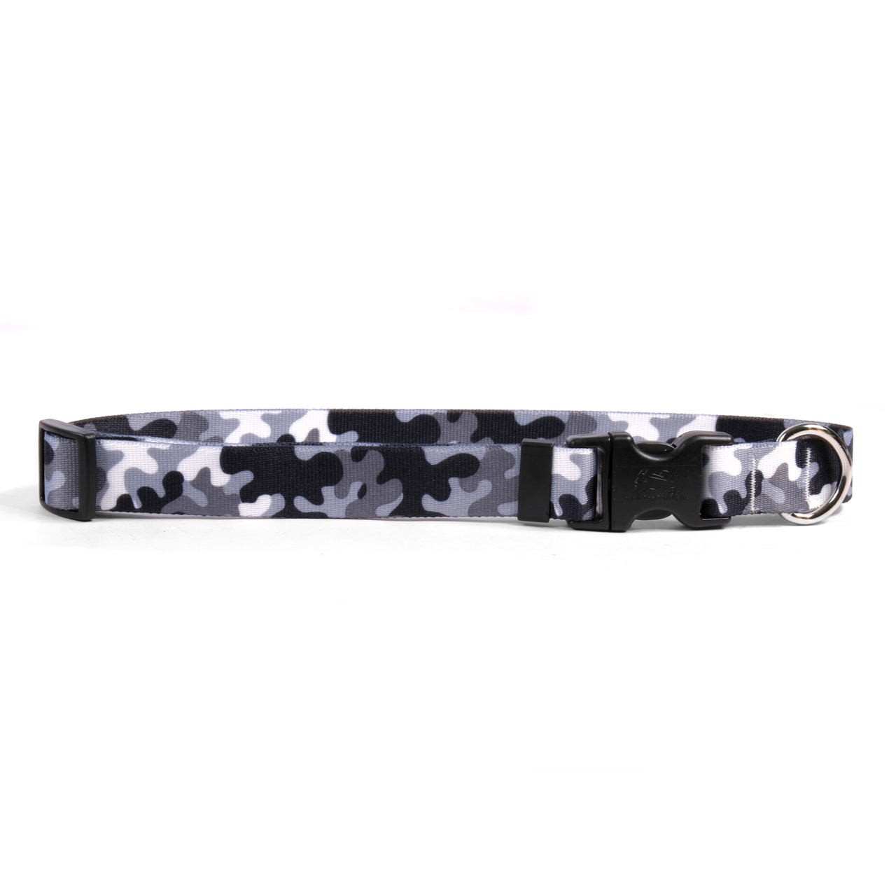 Yellow Dog Black and White Camo Dog Collar with Tag-A-Long