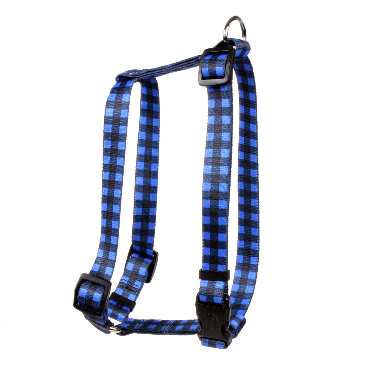 """Yellow Dog Buffalo Plaid Blue Roman Style """"H"""" Dog Harness"""
