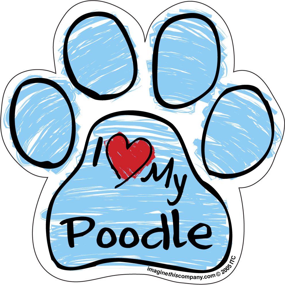 Hot Dog I Love My Poodle BLUE Scribble Paw Magnet