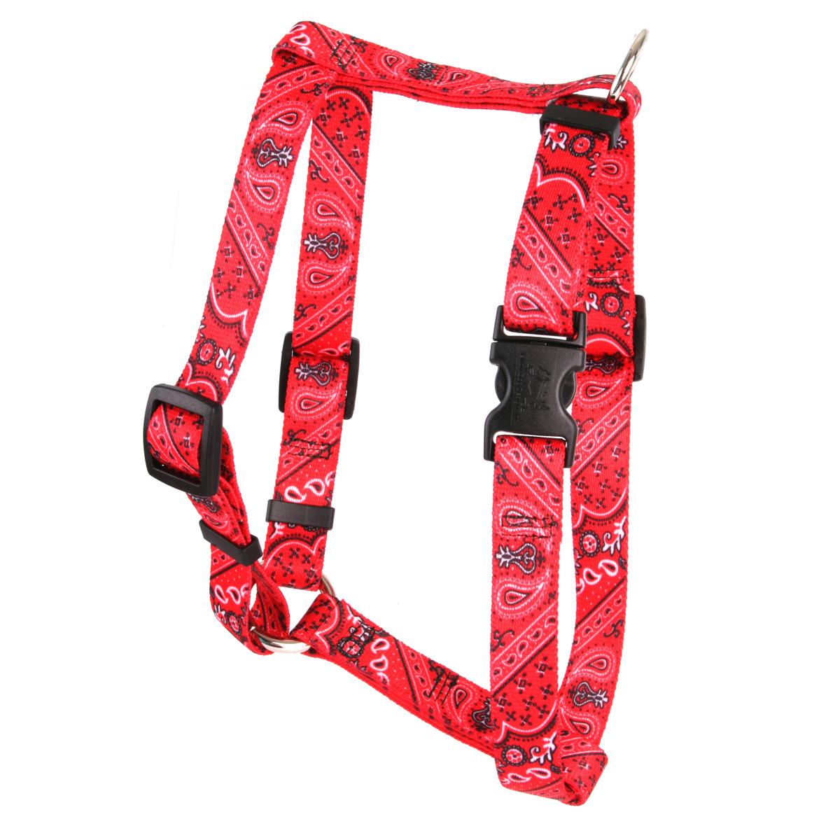 """Yellow Dog Bandana Red Roman Style """"H"""" Dog Harness"""