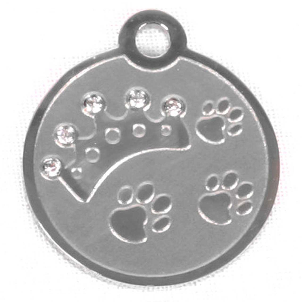 Hot Dog Swarovski Crystal Crown And Paw Stainless Steel P...