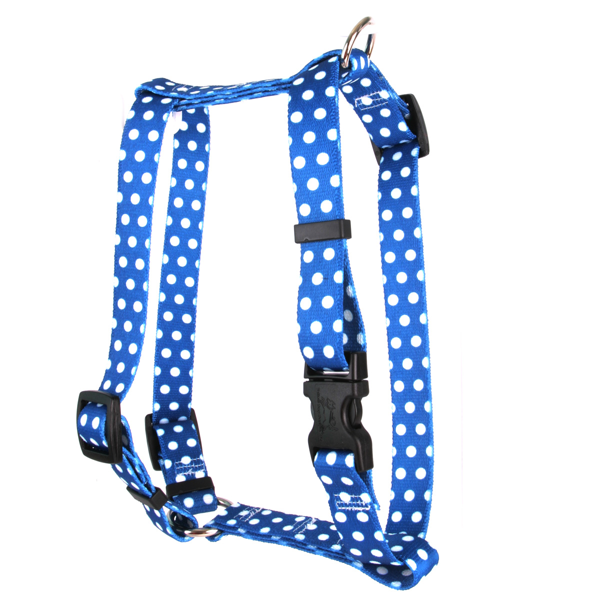 "Yellow Dog Navy Polka Dot Roman Style ""H"" Dog Harness"