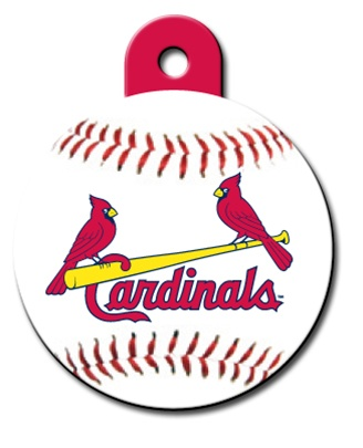 Hot Dog St. Louis Cardinals ROUND Engraved Dog ID Tag