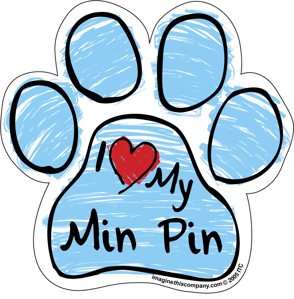 I Love My Min Pin Blue Scribble Paw Magnet image