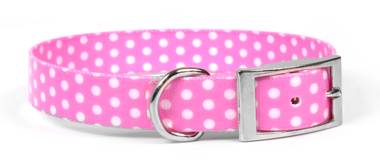 Yellow Dog New Pink Polka Dot Elements Dog Collar