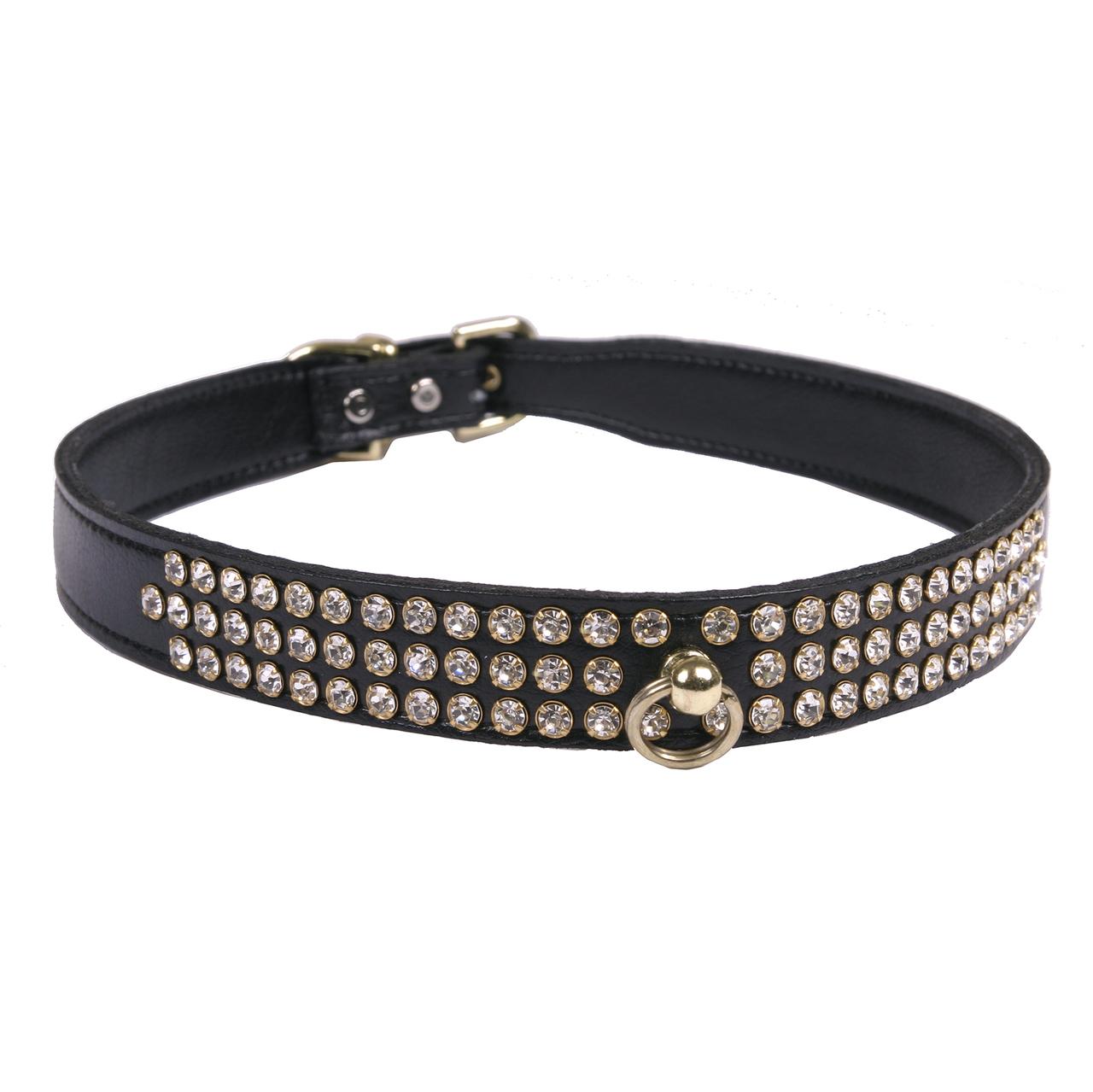 Hot Dog Leather 3-Row Crystal Dog Collar