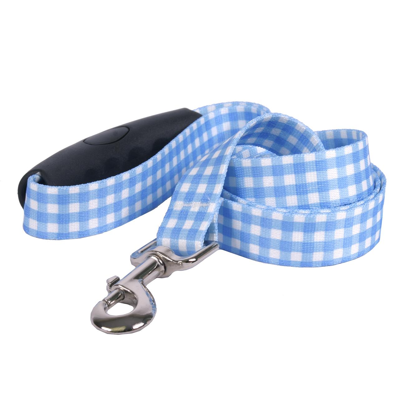 Yellow Dog Southern Dawg Gingham Blue Premium Dog Leash
