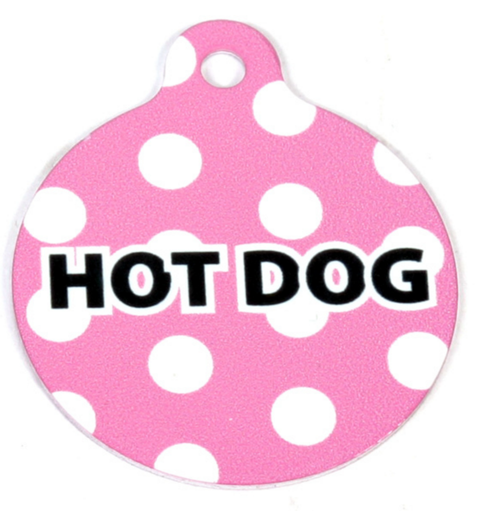 Pink Polka Dot HD Pet/ Dog ID Tag NPP-TS
