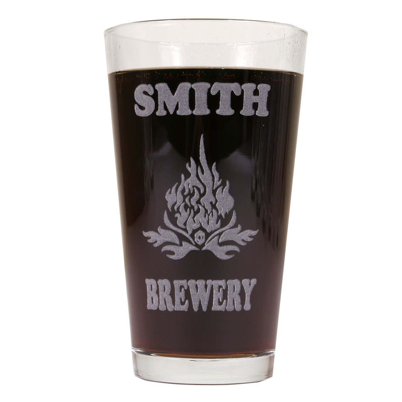 Hot Dog Personalized Pint Glass Beer Mug - Flames