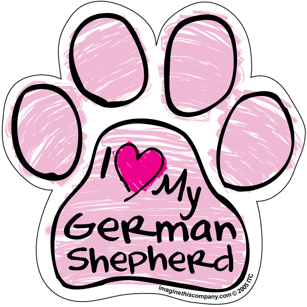 Hot Dog I Love My German Shepherd PINK Scribble Paw Magnet