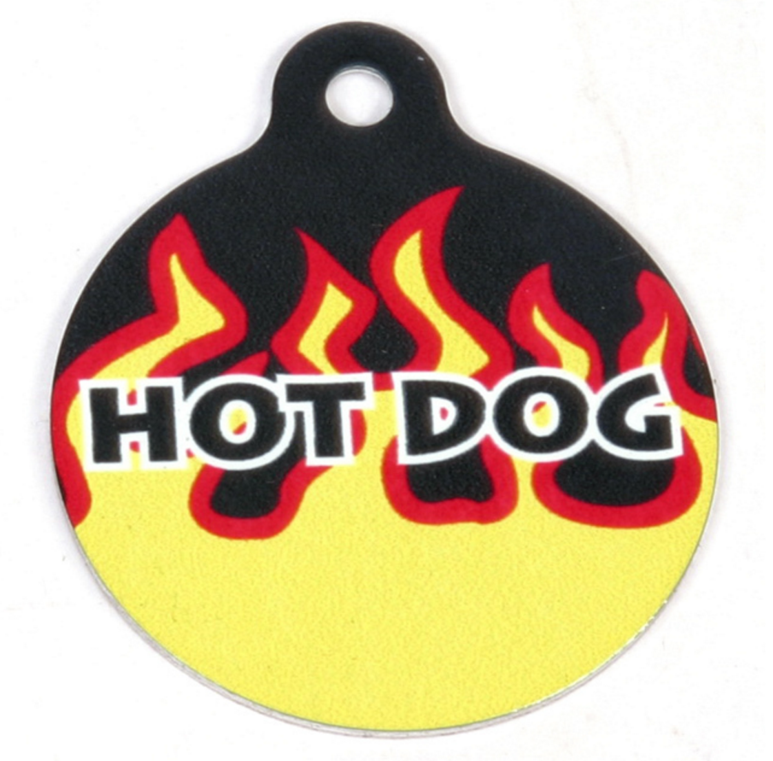 Hot Dog Red Flames HD Pet/ Dog ID Tag
