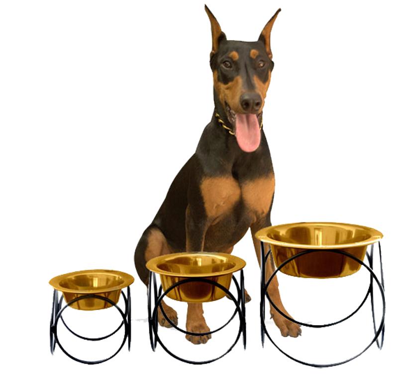 Hot Dog Olympic Diner Stand Raised Dog Feeder