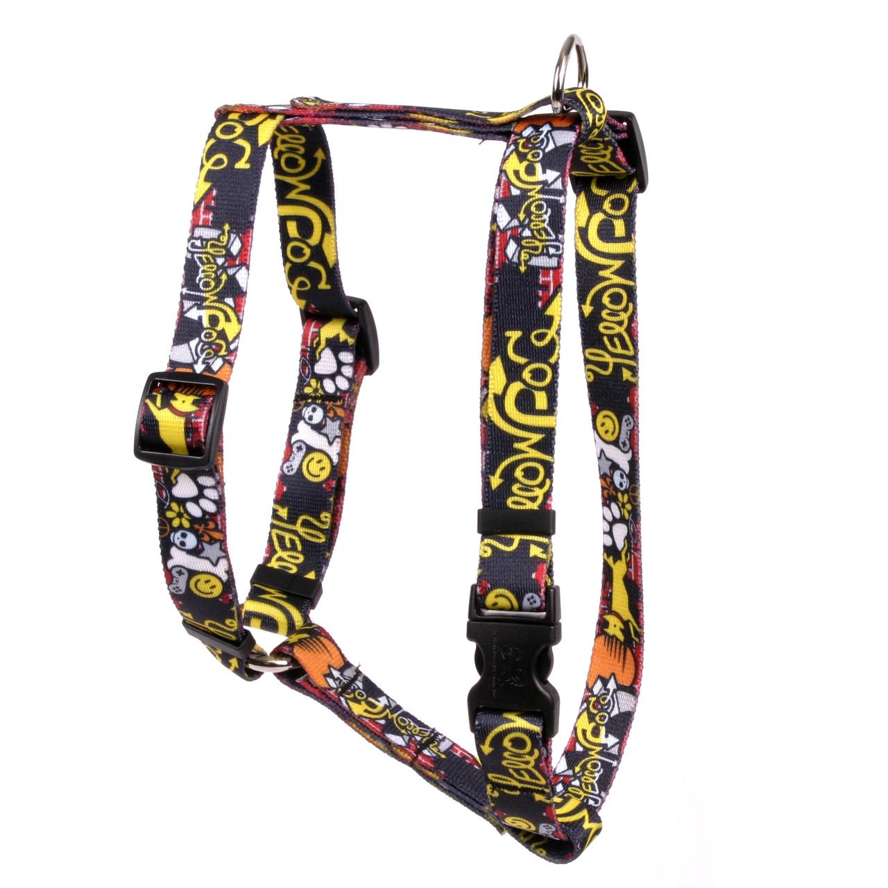 """Yellow Dog Graffiti Dog Roman Style """"H"""" Dog Harness"""
