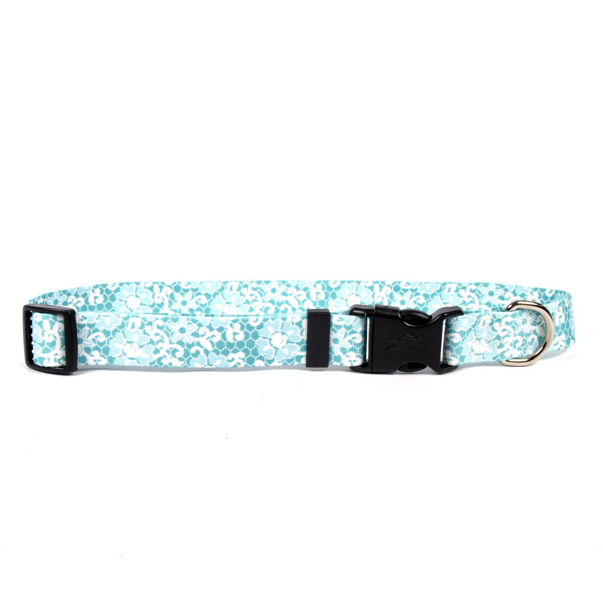 Yellow Dog Teal Lace Flowers Dog Collar with Tag-A-Long