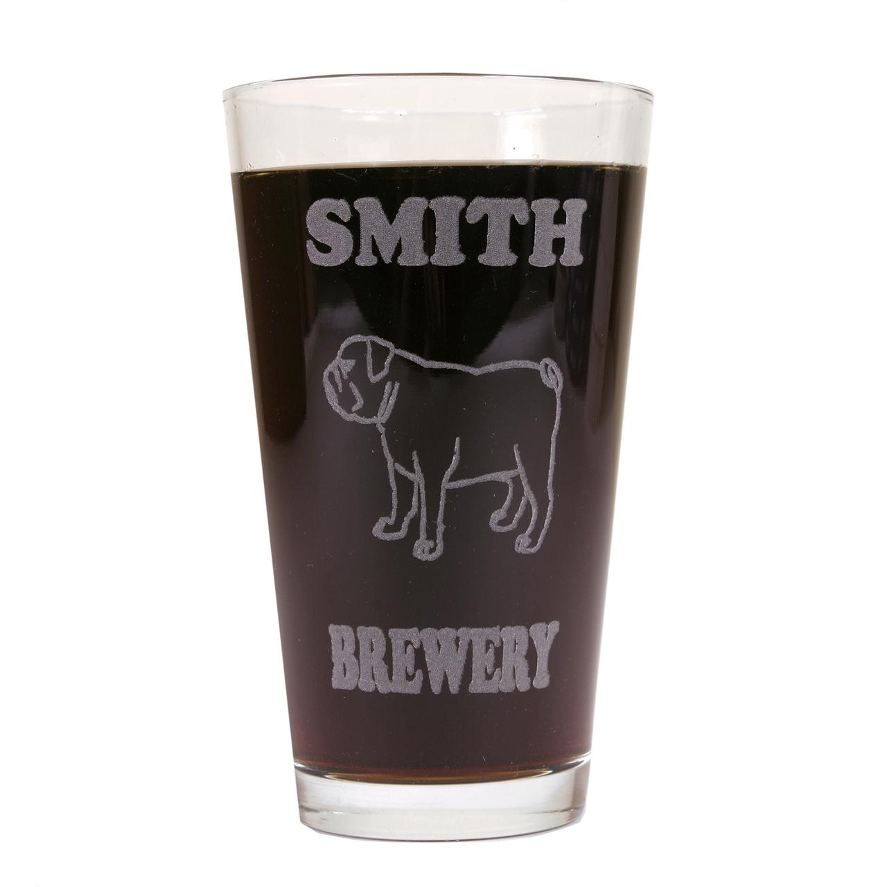 Hot Dog Personalized Pint Glass Beer Mug - Bulldog