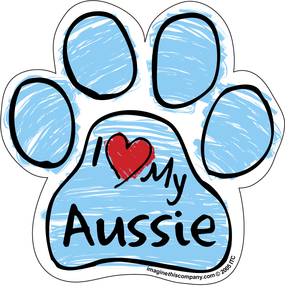 Hot Dog I Love My Aussie BLUE Scribble Paw Magnet