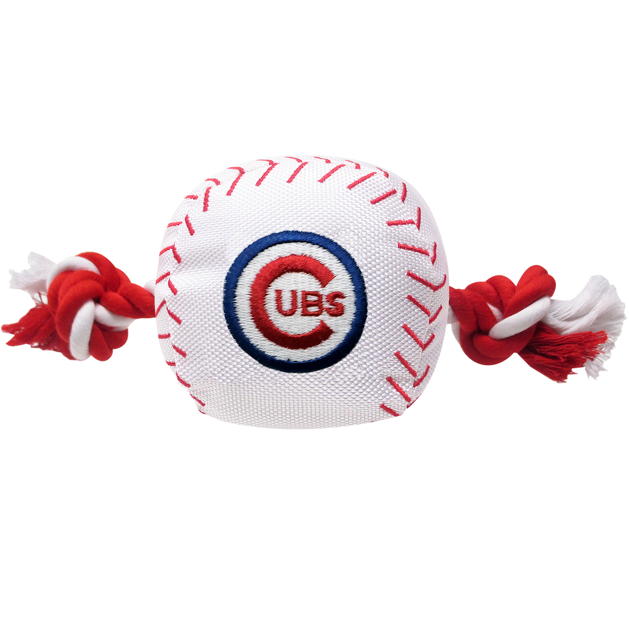 Pets First Chicago Cubs Nylon Rope Baseball Squeaker Dog Toy