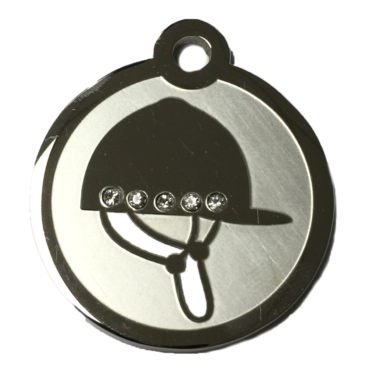 Hot Dog Swarovski Crystal and Stainless Steel Riding Helm...