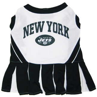 Hot Dog New York Jets NFL Football Pet Cheerleader Outfit