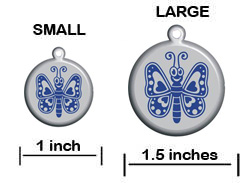 butterfly Pet ID Tag - Product Sizing