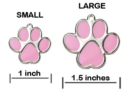 Paw Print Pet ID Tag - Product Sizing