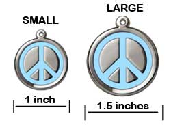 Peace Symbol Pet ID Tag - Product Sizing
