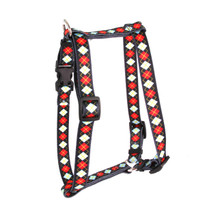 "Red Argyle Roman Style ""H"" Dog Harness"