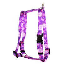 "Purple Flowers Roman Style ""H"" Dog Harness"