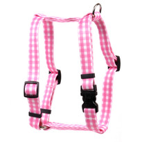 "Gingham Pink Roman Style ""H"" Dog Harness"