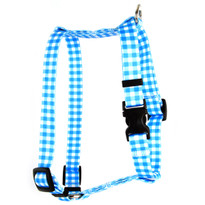 "Gingham Blue Roman Style ""H"" Dog Harness"