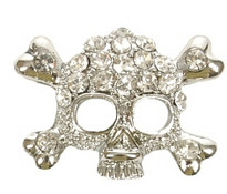 Skull and Crossbones Charm - Clear (10mm)