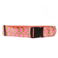 2 Inch Wide Pink and Green Polka Dot Dog Collar