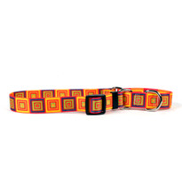 Orange Blocks Martingale Dog Collar
