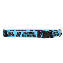 1 Inch - Caution Leg Humper Dog Collar with Tag-A-Long