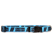1 Inch - Caution Lover Boy Dog Collar with Tag-A-Long