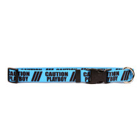 1 Inch - Caution Playboy Dog Collar with Tag-A-Long
