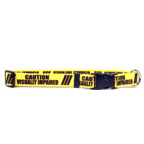 1 Inch - Caution Visually Imparied Dog Collar with Tag-A-Long