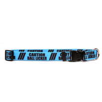 1 Inch - Caution Ball Licker Dog Collar with Tag-A-Long