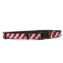 Black Argyle on Black Grosgrain Ribbon Collar