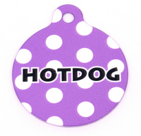 Purple Polka Dot HD Pet ID Tag