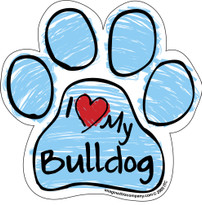 I Love My Bulldog BLUE Scribble Paw Magnet