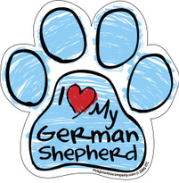I Love My German Shepherd BLUE Scribble Paw Magnet